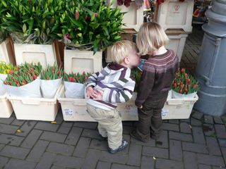 Bram and maddie at the flower stand