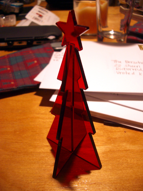 red tree & cards